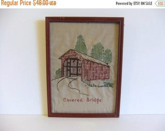 50% off Sale ON SALE Vintage Embroidered Wall Hanging Covered Bridge