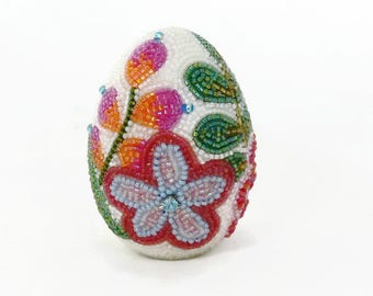 Decorative Egg Beaded Floral One Of A Kind Spring Decoration Housewarming Gift *READY TO SHIP
