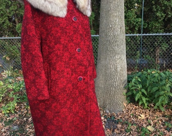 Vintage 1960's red and black winter coat