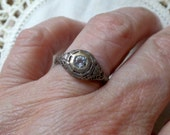 Vintage Sterling Silver .925 Aquamarine Art Deco Style Filigree Engagment Ring Size 6.5