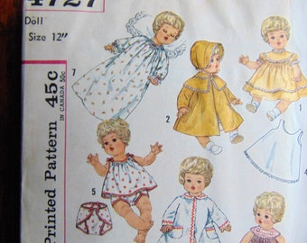 Vintage Simplicity Betsy Wetsy 12 inch DOLL Clothing Printed Dress Pattern