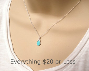 Sterling silver Turquoise Necklace...Simple Turquoise tear drop pendant, Everyday simple jewelry, Bridesmaid gift, Gift for her