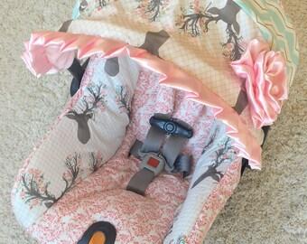 Custom Infant Car Seat Covers, 4 Pc Set for Car Seat, Girly Stag Baby Car Seat Cover, Baby Car Seat Covers, Pink Baby Car Seat Covers