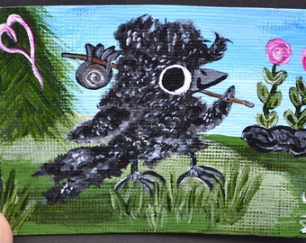On Hold, Baby Bird, Crow, Aceo/Art, Dream/Nature, Painting, Original Acrylic, Follow Your Dreams
