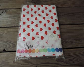 VERA tablecloth vintage Vera Neumann red hearts tablecloth table top linen oval table cover new old stock in package