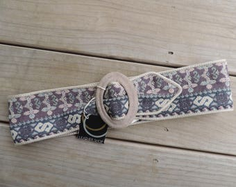 1980s tapestry belt The Leather Shop floral brocade wide waist belt new old stock
