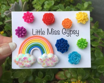 Rainbow Flower Thumbtack Set, Boho Room, Vintage, Office, Dorm, Nursery, Cute Push Pins, Cute Gift, Floral, Bulletin Board, Unicorn