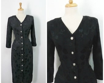 Vintage 1940s Dress Black Bocade Rayon Button front Evening gown