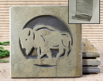 Etched Natural Stone Coaster Set with Holder - Buffalo / Bison on Buff Slate