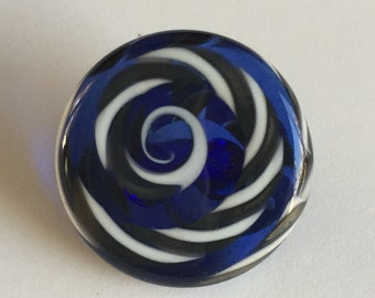 Lampwork Glass Button with Self Shank - Blue/Gray/White Swirls