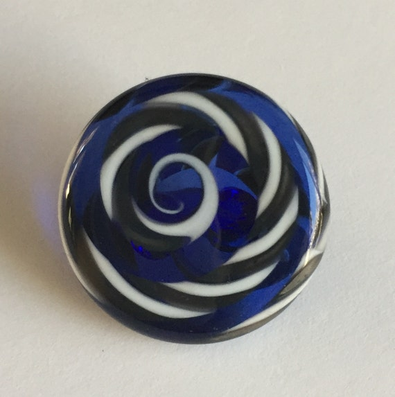 Lampwork Glass Button with Self Shank - Blue/Gray/White Swirls