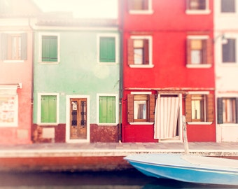 Italy Art, Color Photography, Pastel Wall Art Print, Nursery Decor, Burano, Venice Home Decor, red, mint, pink, Travel photograph, Italian