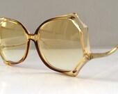 SALE 10% OFF - 80s Vintage Spider Web Shape Big Light Brown Sunglasses