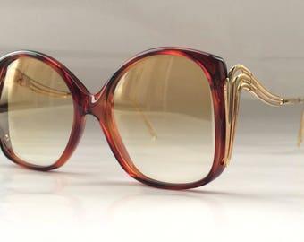 80s Vintage Tortoise Square Frame Sunglasses Small Head Size