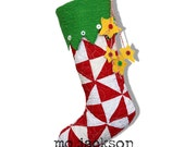 christmas stocking made from vintage quilt