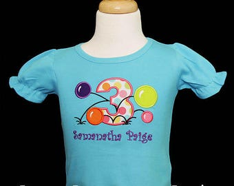 Girls Bouncy Ball Birthday Shirt, Bouncy Ball Shirt, Balls Birthday Shirt or Bodysuit, Any Age, Custom Colors, Third Birthday, Bounce House