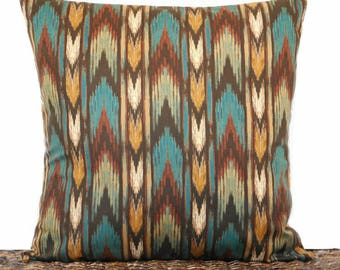 RESERVED FOR ALICIA Chevron Pillow Cover Cushion Southwestern Decor Teal Rust Mustard Green Brown Decorative 18x18