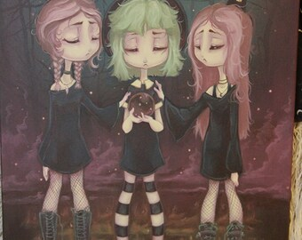 "Gothic witch lowbrow art Original Acrylic painting  -16"" by 20"" The Sisters"