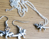 Silver Plated Dinosaur Jewellery Set, Drop Dangle Charm Earrings, Pierced Ears, Pendant Necklace, Ladies Gift, Cute Pet, Raptor, Jurassic