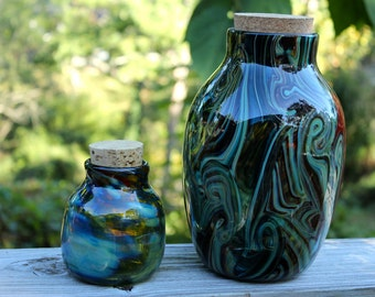 "10"" Tall Extra Large Thick Wide Mouth Blown Glass Jar"