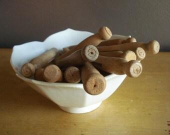 Vintage Clothespins VI - Fourteen Wooden Laundry Pins