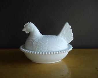 Little White Hen - Vintage Milkglass Bird - White Milk Glass Hen or Chicken Dish and Lid