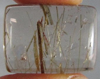 Rutilated Quartz Crystal Clear Cabochon golden inclusions