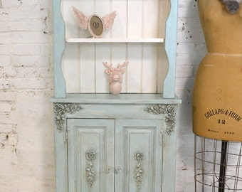 Painted Cottage Chic Shabby Aqua Romantic French China Cabinet CC906