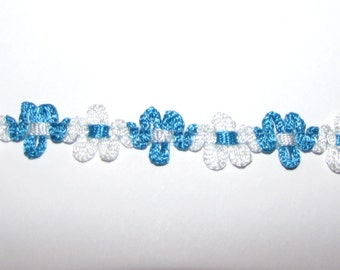 1/2 inch 2 tone white turquoise Sewing craft decor favors ribbon yards floral trim baby quinceanera scrapbook