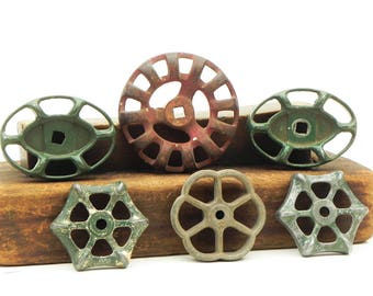 Lot of 6 Salvaged Faucet Handles Knobs Industrial Steampunk Altered Art Supply