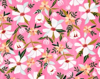 Windham - Blush and Blooms - White Flower Floral - Raspberry - Fabric by the Yard 41647-3