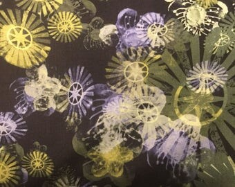 Timeless Treasures Black Star Flower Fabric by the yard C4058-BLK