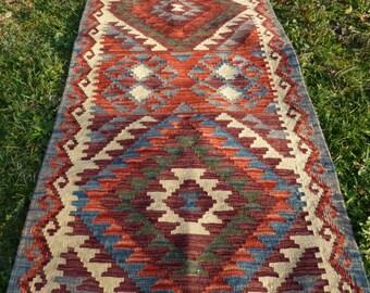 "Pretty Natural Chobi Kilim  Runner  6 ft 5 x 2 ft 2"" 195 cm x 67 cm. Hand woven."