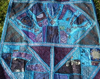 """A pretty Big Blue hand embroidered Patchwork Wall hanging/throw.  India. Sparkly. 39"""" x 57"""""""
