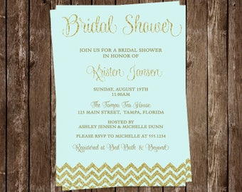 Bridal Shower Invitations, Mint, Gold, Glitter, Wedding, Chevron, Set of 10 Printed Cards, FREE Ship, MNTGG, Green Glitter and Gold