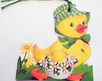 Green Hat Duck - Easter Bonnet Duck - Gift Tags - Set of 3 - Daisy Basket Tag - Yellow Green White - Retro Easter Tags - Easter Basket Tags