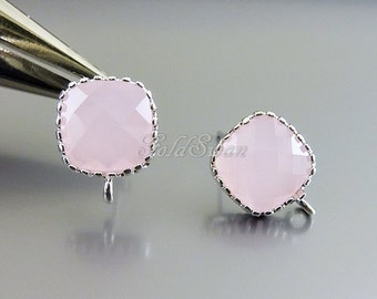 2 pcs / 1 pair cushion cut semi-opaque pink ice square shape earrings, pink ice silver earrings, wedding, bridal earrings  5155R-PI