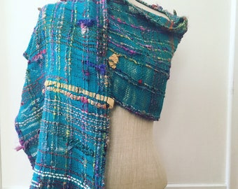 Recycled Sari Silk & Organic Cottolin Handwoven Saori Scarf / Peacock Blue / Multicolor / Rainbow / Spring / Summer / Sustainable