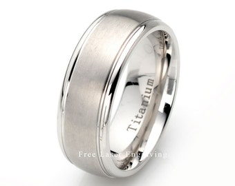 Mens Wedding band, Titanium Wedding Ring, Brushed, Domed, Grooved, 8mm, Titanium Ring, Mens Ring, Brushed Titanium Ring, Mens Titanium Ring