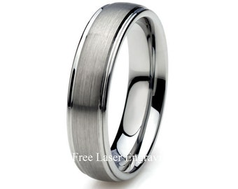 Tungsten Wedding Band, Brushed Tungsten Ring, Mens Ring, Mens Wedding Band, 6mm Tungsten Ring, Custom Engraved Ring, Wedding Ring,