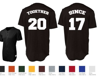 Together Since Custom Baseball Jersey Number Style Couples Jersey Shirts Sport-Tek® PosiCharge™ Tough Mesh Full-Button Baseball Jersey St220