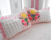 PINK LOLIPOP ROSES Vintage Chenille Patchwork Quilt Style Pillow Sham Set A Girls Favorite