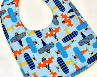 Toddler Bib For Boy or Girl Baby Bib With Colorful Plains Baby Gift Soft Flannel Backing