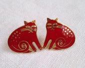 Vintage Laurel Burch Cat Earrings Keshire Red Enamel Cloisonne