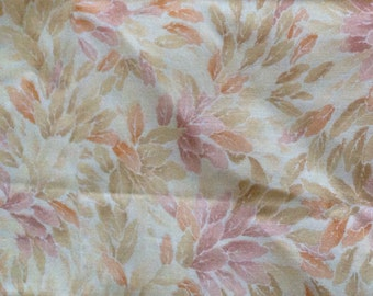 Cotton Quilt Fabric - Beige and Lilac Leaves - Out Of Print Classic Fabric - Fabric Remnant