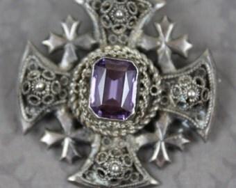 Vintage Crusader Cross Sterling Silver Filigree Amethyst Brooch