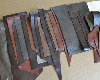 Leather Scraps #6 - 1 Pound of Quality Leather Scraps