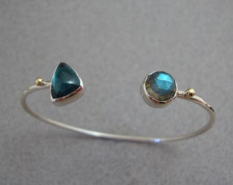 Rose Cut Labradorite and Teal Tourmaline Bracelet in Sterling and 18k Gold, Simple Cuff Bracelet