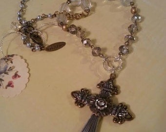 Cross Necklace,  Silver and Gold Cross Necklace, Statement Necklace, Western Style Necklace