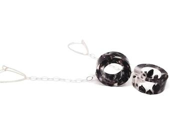 Lightweight Drop Earrings with Black Sorghum on Sterling Silver Chain.  Dangle Chain Earrings.  Circle Drop Earrings.